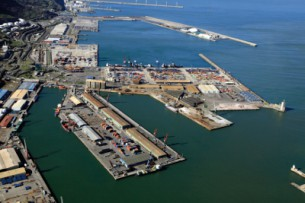 Panoramic view of Port of Bilbao facilities