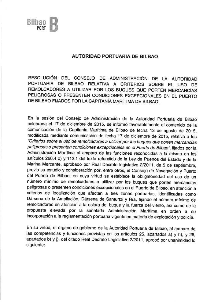Resolución del Consejo de Administración relativa a criterios sobre el uso de remolcadores a utilizar por los buques que porten mercancías peligrosas o presenten condiciones excepcionales