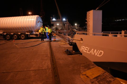 Bunkering operations of MV IRELAND