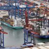 Detail of Port of Bilbao container terminal