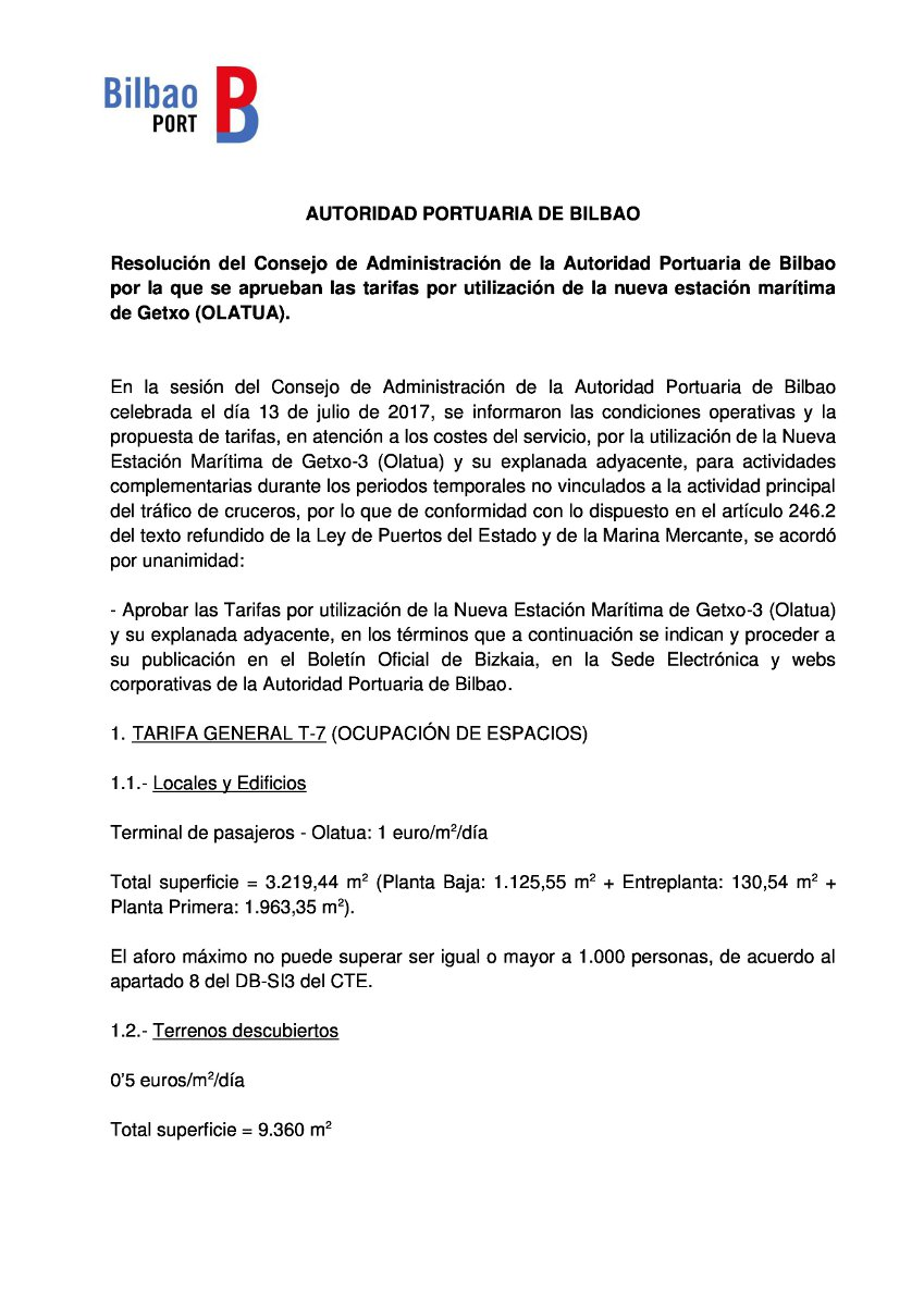 Resolution of the Board of Directors of the Port Authority of Bilbao approving the rates for use of the new maritime station of Getxo (OLATUA)