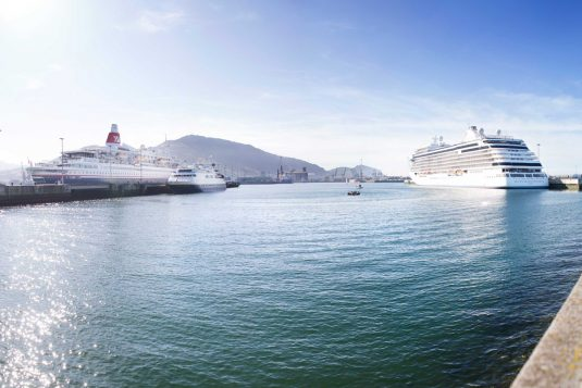 Three cruise vessels at port