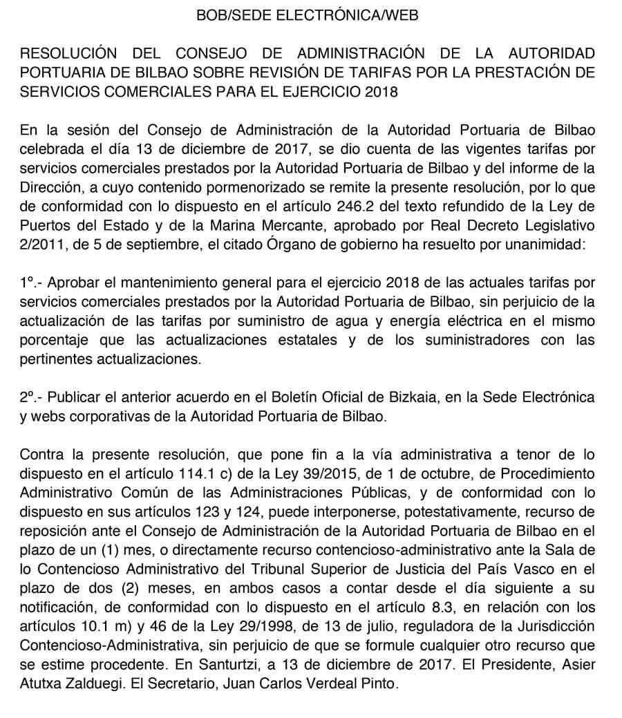 Resolución del Consejo de Administración de la Autoridad Portuaria de Bilbao sobre Revisión de Tarifas por la Prestación de Servicios Comerciales para el ejercicio 2018