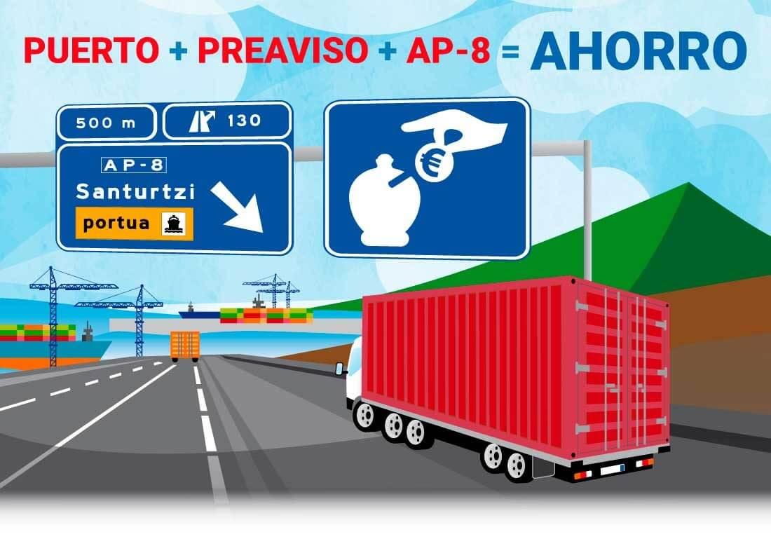 Puerto + Preaviso + AP-8 = Ahorro