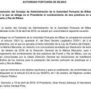 Resolución del Consejo de Administración de la Autoridad Portuaria de Bilbao por la que delega en el Presidente de la Autoridad Portuaria de Bilbao el nombramiento de prácticos en el Puerto y Ría de Bilbao