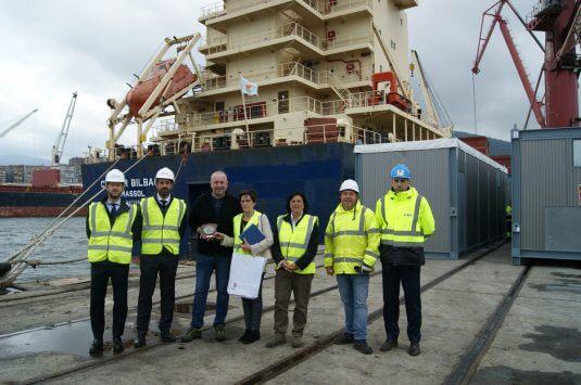 Captain of the MV CONDOR BILBAO with port of Bilbao representatives