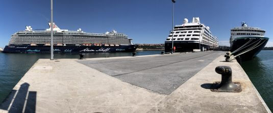 Three cruise ships at the port of Bilbao