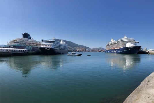 Cruise ships at the port of Bilbao