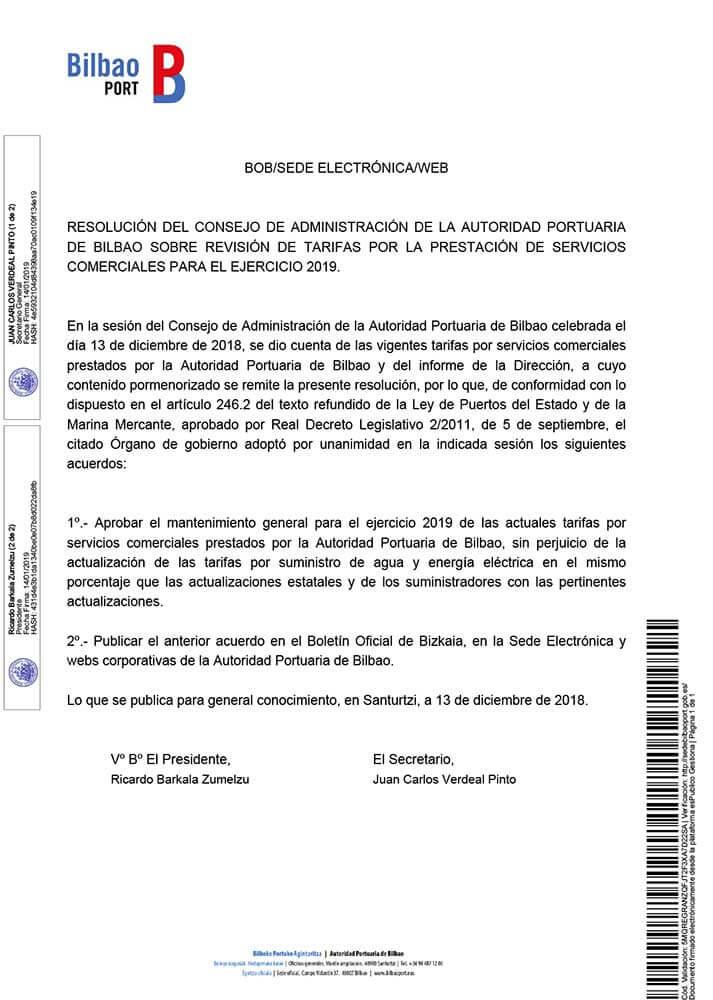 Resolución del Consejo de Administración de la Autoridad Portuaria de Bilbao sobre revisión de tarifas por la prestación de servicios comerciales para el ejercicio 2019