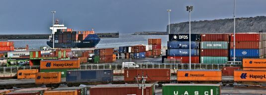 Container ship arriving at the port