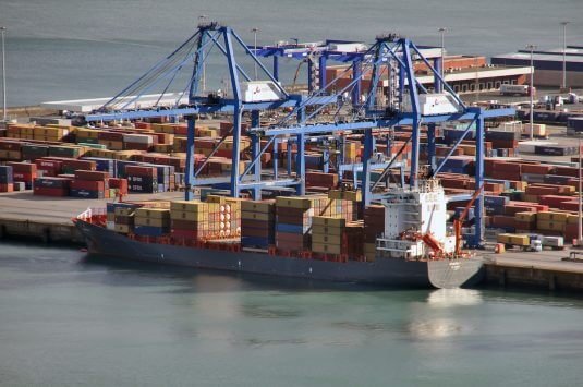 Ship at container terminal