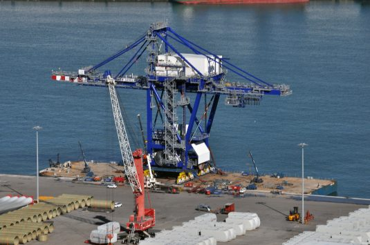 The crane on board the barge