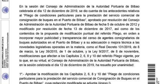 Resolución del Consejo de Administración de la Autoridad Portuaria de Bilbao por la que se aprueba la Modificación del Pliego de Condiciones Particulares para la Prestación del Servicio Comercial de Consignación de Buques en el Puerto de Bilbao