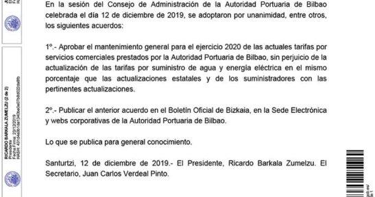 Resolución del Consejo de Administración de la Autoridad Portuaria de Bilbao sobre revisión de tarifas por la prestación de servicios comerciales para el ejercicio 2020