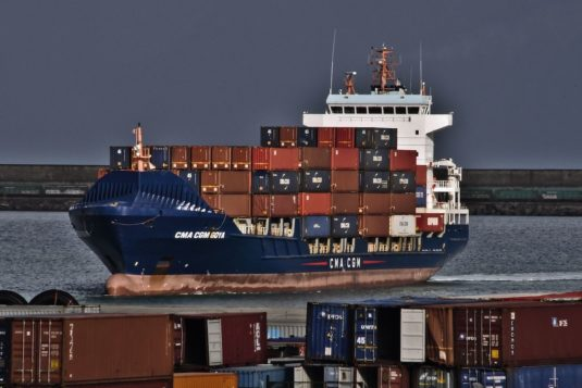 Arrival of the Containerships´ vessel CMA CGM GOYA