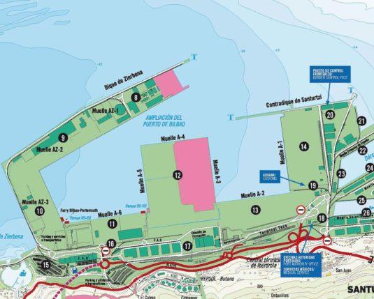 Plano con las terminales de contenedores, ferry, PCF y Aduana