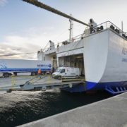 The first ferry of the new service with Ireland arrives at the Port of Bilbao