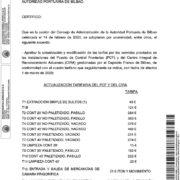 Resolución del Consejo de Administración de la Autoridad Portuaria de Bilbao sobre la actualizacion de las tarifas del PCF y el CIRA para 2020