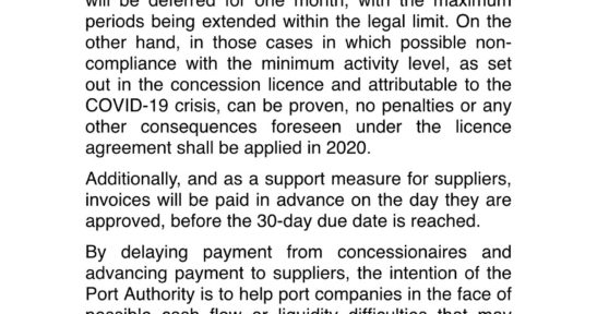 The Port Authority of Bilbao approves a package of financial measures for concessionaires and port suppliers in relation to the COVID-19 crisis