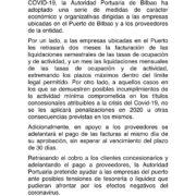 La Autoridad Portuaria de Bilbao aprueba un paquete de medidas económicas dirigidas a las empresas concesionarias y a proveedores del puerto por la crisis del COVID-19