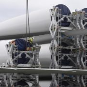 Wind turbine blades for a new wind energy project of Iberdrola arrive at the Port of Bilbao